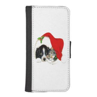 Dog and Cat Sharing Santa Hat iPhone 5 Wallet