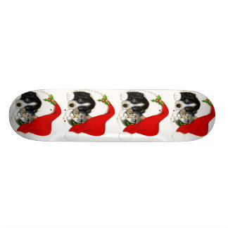 Dog and Cat Sharing Santa Hat Custom Skate Board
