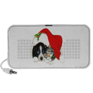 Dog and Cat Sharing Santa Hat Portable Speakers