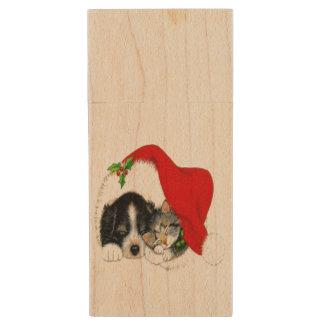 Dog and Cat Sharing Santa Hat Wood USB 2.0 Flash Drive