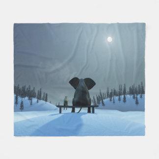 Dog and Elephant Friends Fleece Blanket