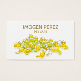 Dog and Full of Cats Funny illustration Business Card