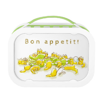 Dog and Full of Cats Funny illustration Lunch Box