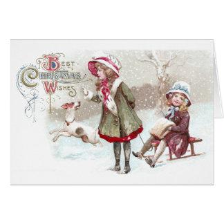 Dog and Girl on Sled Vintage Christmas Card