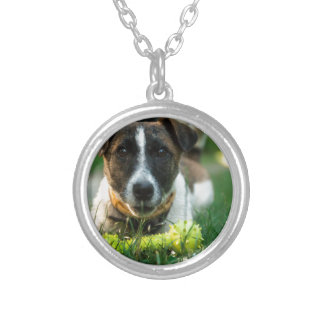 Dog and His Toy Bone Silver Plated Necklace