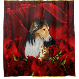Dog and Kitten embedded in Red Roses