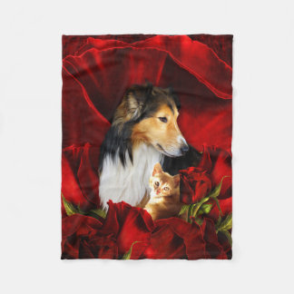 Dog and Kitten embedded in Red Roses Fleece Blanket