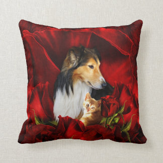 Dog and Kitten embedded in Red Roses Throw Pillow