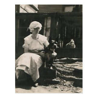 dog and lady in old bonnet postcard