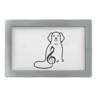 DOG AND MUSIC NOTE RECTANGULAR BELT BUCKLES