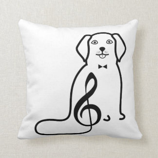 DOG AND MUSIC NOTE THROW PILLOW