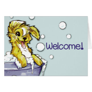 Dog and Pet Groomer Welcome - Doggie Bubble Bath Card