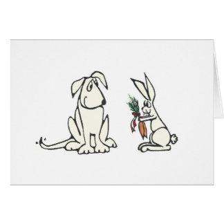 Dog and Rabbit Custom Message Greeting Card