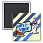Dog and Train 2nd Birthday Fridge Magnet