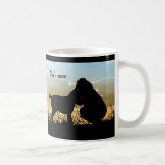 Dog and Woman in Sunset Coffee Mug