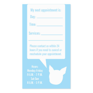 Dog appointment card speech bubble business card