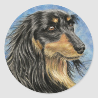 Dog Art - Long Haired Dachshund Art Marcus Classic Round Sticker