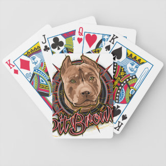 dog art radical pit bull brown and red bicycle playing cards