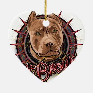 dog art radical pit bull brown and red ceramic heart ornament