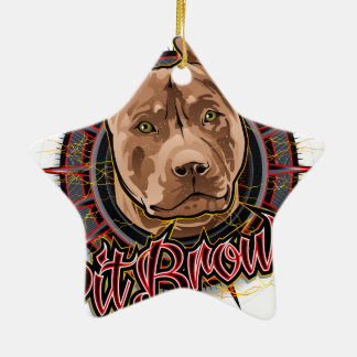 dog art radical pit bull brown and red ceramic star ornament