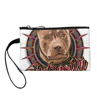 dog art radical pit bull brown and red change purse