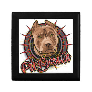 dog art radical pit bull brown and red gift box