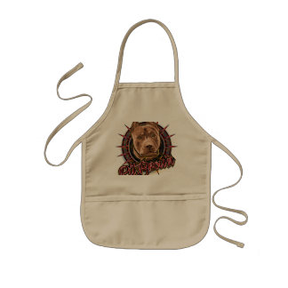 dog art radical pit bull brown and red kids apron
