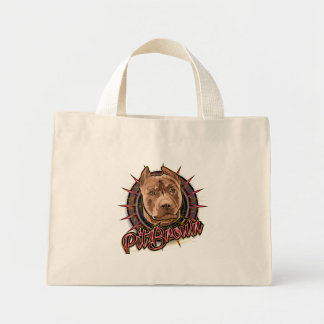 dog art radical pit bull brown and red mini tote bag
