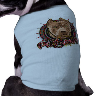 dog art radical pit bull brown and red pet shirt