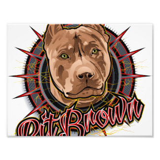 dog art radical pit bull brown and red photo