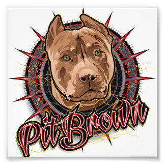 dog art radical pit bull brown and red photograph