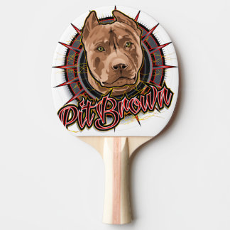 dog art radical pit bull brown and red Ping-Pong paddle