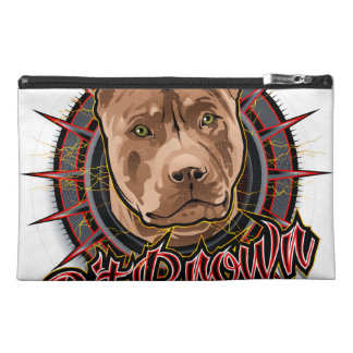 dog art radical pit bull brown and red travel accessory bag