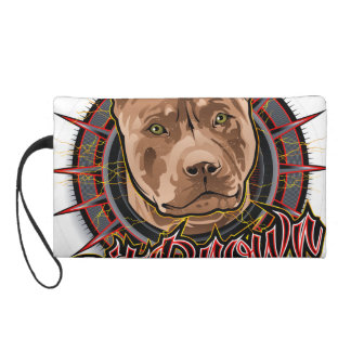 dog art radical pit bull brown and red wristlet purse