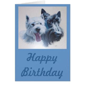 Dog Art:  Scottie & Westie Birthday Card