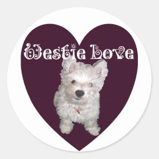 Dog Art: Westie Love Classic Round Sticker
