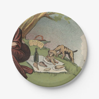 Dog at Picnic 7 Inch Paper Plate
