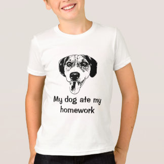 Dog ate my homework kids' tee shirt