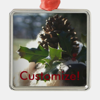 Dog Balancing Holly Silver-Colored Square Ornament