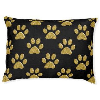 Dog Bed - Gold Bling Paw Prints Large Dog Bed
