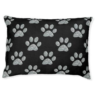 Dog Bed - Lt Silver Bling Paw Prints Large Dog Bed