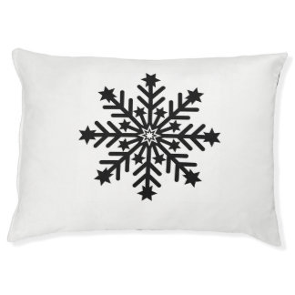 Dog Bed Single Snowflake Black and White
