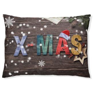 Dog Bed Under Christmas Tree XMAS Snowflakes