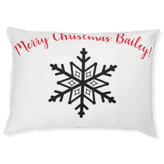 Dog Bed White Black Snowflake Personalized