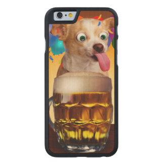 dog beer-funny dog-crazy dog-cute dog-pet dog carved maple iPhone 6 case