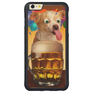 dog beer-funny dog-crazy dog-cute dog-pet dog carved maple iPhone 6 plus bumper case