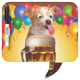 dog beer-funny dog-crazy dog-cute dog-pet dog dry erase board