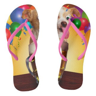 dog beer-funny dog-crazy dog-cute dog-pet dog flip flops