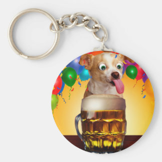 dog beer-funny dog-crazy dog-cute dog-pet dog keychain