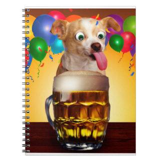 dog beer-funny dog-crazy dog-cute dog-pet dog notebook
